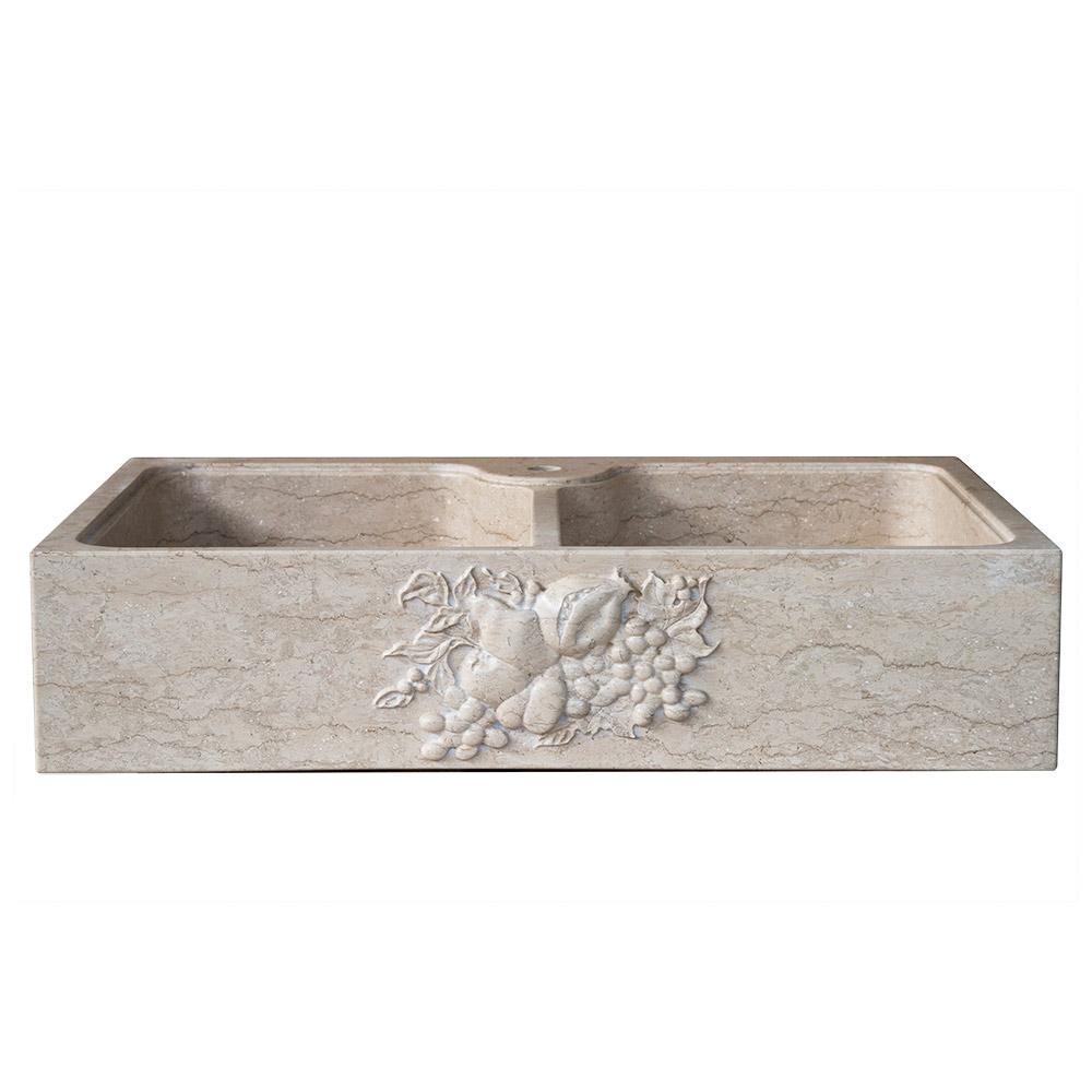lavabo classico in pietra per cucina bassorilievo