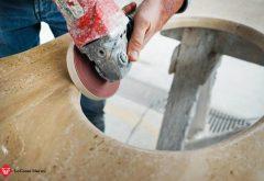Lavorazione base lavello sottopiano in marmo