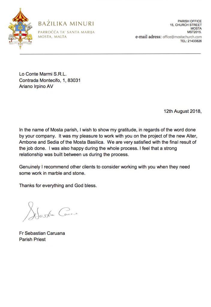 lettera di referenza arte sacra in marmo malta