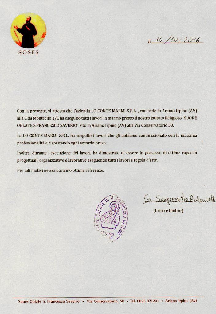 lettera di referenza arte sacra in marmo