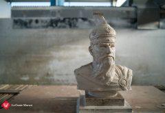 scultura in lavorazione Skanderbeg